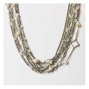 David Yurman Multi Chain Quatrefoil Pearl Necklace